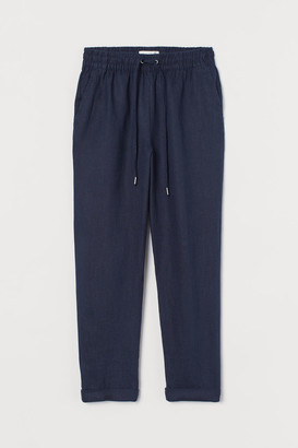 H&M Pull-on Linen Pants - Blue