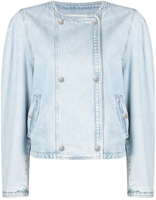 Etoile Isabel Marant Collarless Double-Breasted Denim Jacket