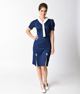 Hell Bunny 1940s Style Navy Blue Sailor Jackie Pencil Dress