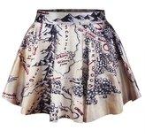 Pink Queen Women Girls Casual High Waist Stretch Waist Flared Pleated Mini Skirt