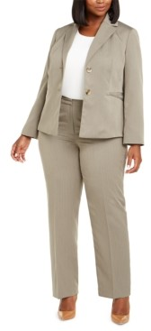 Le Suit Plus Size Straight-Leg Tonal-Striped Pants Suit