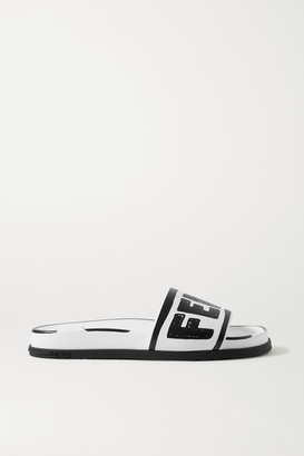 Fendi Logo-print Leather Slides