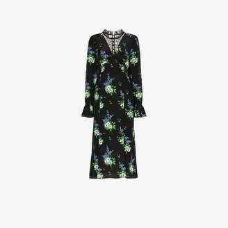 Les Rêveries Daffodil Print Silk Midi Dress