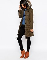 Pepe Jeans Harper Parka with Faux Fur Hood