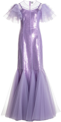 Huishan Zhang Aurora Tulle-Overlay Sequined Gown