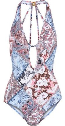 Jets Poetic Plunge Cutout Printed Swimsuit