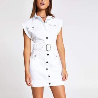 River Island Womens White belted midi denim dress