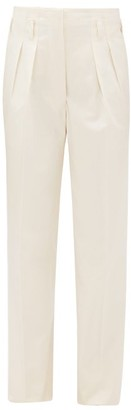 Giuliva Heritage Collection The Gastone High-rise Pleated Cotton Trousers - Ivory