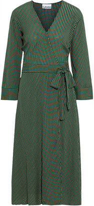 Ganni Checked Crepe Midi Wrap Dress