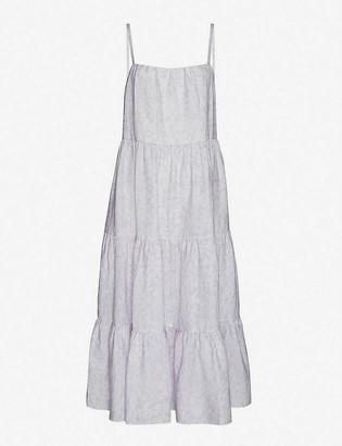 Peony Swimwear Lavender floral-print tiered linen midi dress