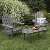 Adirondack Nelsonville Classic Plastic Chair with Table Bay Isle Home Color: Coastal Teak