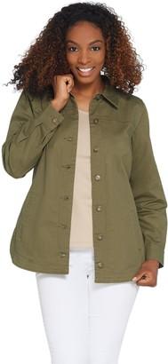 Denim & Co. Button Front Long-Sleeve Utility Shirt Jacket