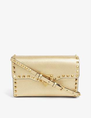 Valentino Rockstud metallic leather cross-body satchel