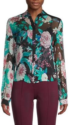 Diane von Furstenberg Dalary 2-in-1 Silk Floral Shirt