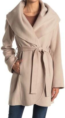 Tahari Marilyn Shawl Collar Tie Waist Wool Blend Coat