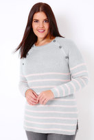Yours Clothing Grey & Pale Pink Stripe Knit Jumper With Grey Buttons