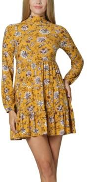 Ultra Flirt Juniors' Mock-Neck Floral Dress
