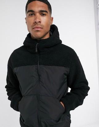 Brave Soul borg mixed panel hooded jacket