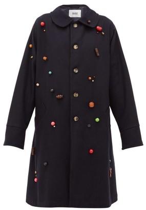 Bode Beaded Wool Single-breasted Coat - Navy