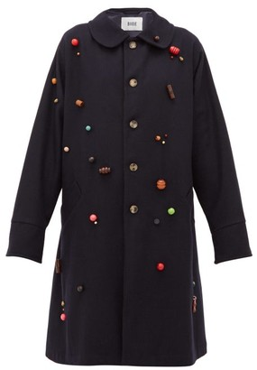 Bode Beaded Wool Single-breasted Coat - Womens - Navy