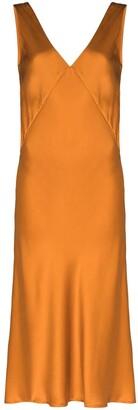 ASCENO The Bordeaux V-neck midi dress