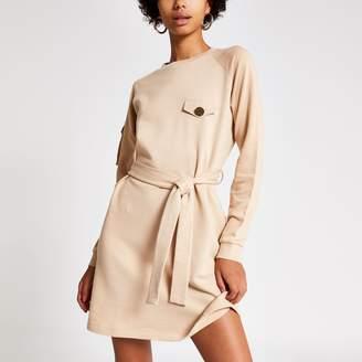 River Island Womens Beige tie waist utility sweatshirt dress