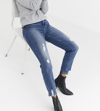 Stradivarius mom jean with stretch and rip detail in blue
