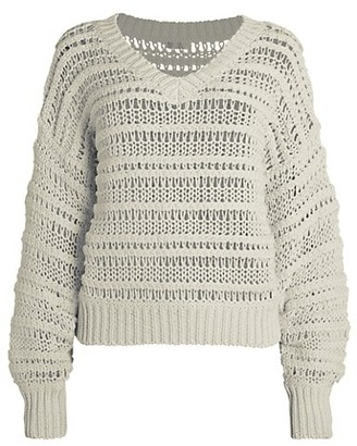 Brunello Cucinelli Chunky Open-Weave V-Neck Cotton Sweater