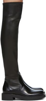 Prada Black Stretch Leather Tall Boots