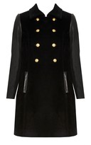 Alice + Olivia A-Line Double Breasted Coat With Leather Sleeve
