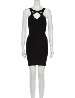 Herve Leger Scoop Neck Mini Dress Black