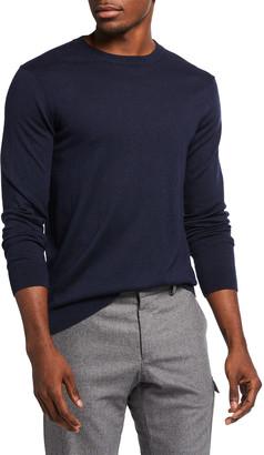 Neiman Marcus Men's Solid Long-Sleeve Crew Sweater