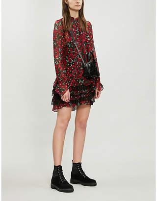 The Kooples Lace ruffle trim floral silk-blend dress
