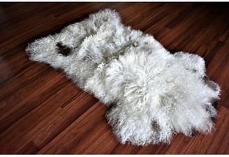 "Brittingham Animal Print Handmade 2'2"" x 3'3"" Sheepskin White/Brown Indoor / Outdoor Area Rug Millwood Pines"