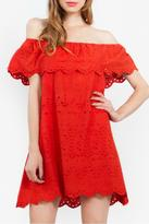 Sugar Lips Coral Off-The-Shoulder Dress