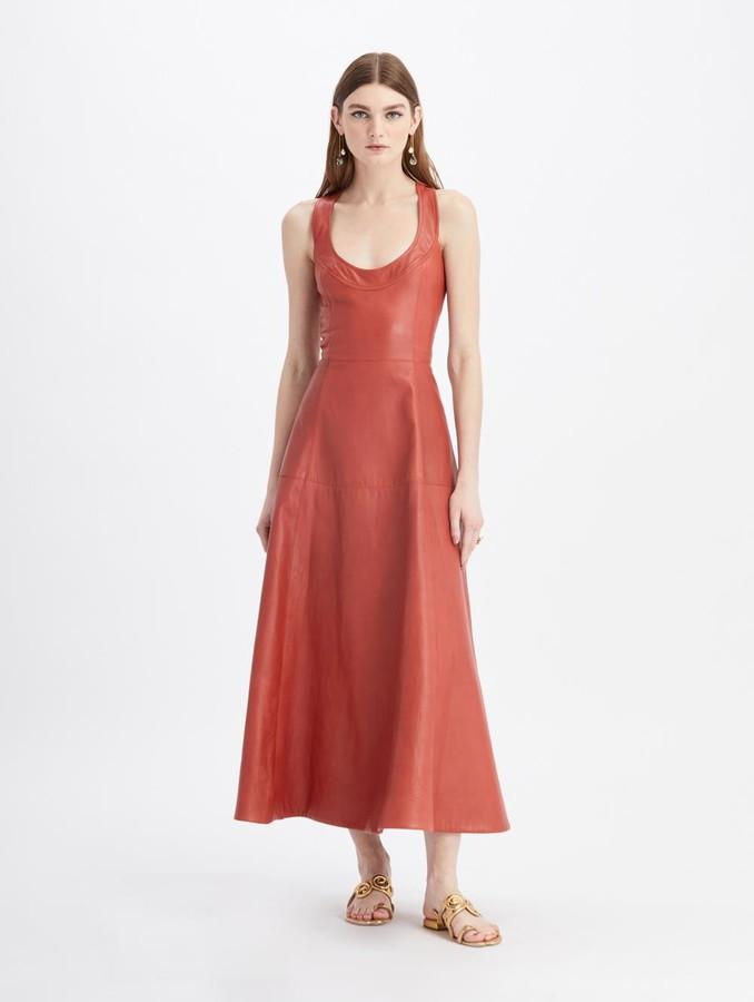 Oscar de la Renta Leather Sleeveless Maxi Dress