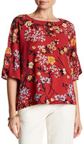 Bobeau Boxy Bell Sleeve Floral Print Blouse