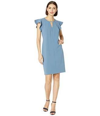Vince Camuto Womens Flutter Sleeve Crepe Ponte Keyhole Dress XL