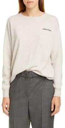 Brunello Cucinelli Monili Trim Double Pocket Cashmere Sweater