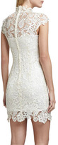 Neiman Marcus Cusp by High-Neck Lace Dress