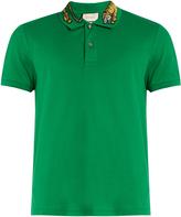 Gucci Tiger embroidered-collar piqué polo shirt