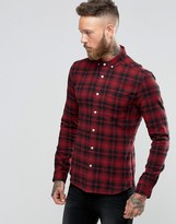 Asos Skinny Check Shirt In Red With Long Sleeves