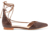 Schutz Neida Snake-Effect Leather Point-Toe Flats