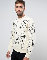 Paul Smith Crew Sweatshirt Dancing Dice in Ecru