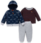 Little Me Baby Boys Three-Piece Printed Hoodie, Striated Crewneck Tee and Pants Set