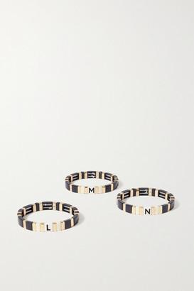 Roxanne Assoulin Neutral Alphabet Soup Enamel And Gold-tone Bracelet - Navy