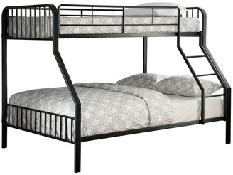 Overstock Industrial Style Twin over Full Metal Bunk Bed with Tubular Frame, Black