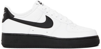 Nike White and Black Air Force 1 07 Sneakers