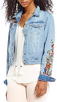 Jessica Simpson Pixie Embroidered Long Sleeve Denim Jacket