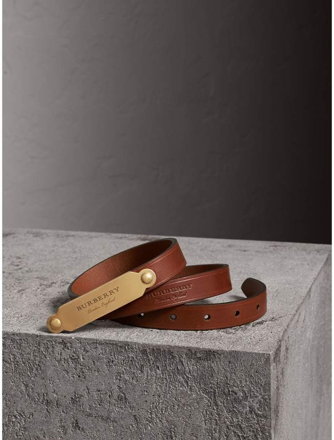 Burberry Brass Plaque Buckle Embossed Bridle Leather Belt , Size: 90, Brown